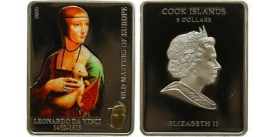 Cookovy ostrovy, 5 Dollar 2009 - Leonarda da Vinci, dáma s hranostajem, PROOF