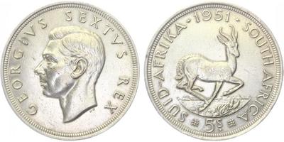 5 Shilling 1951 - JIří VI.