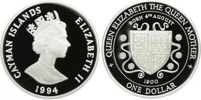 Kajmanské ostrovy, 1 Dollar 1994 - Výročí narození Královny matky 1900, PROOF
