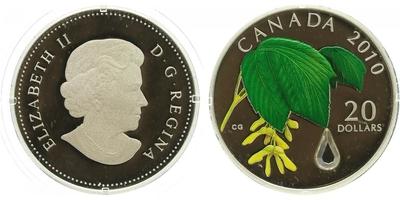 Kanada, 20 Dollar 2010 - Javorový list s kapičkou vody, PROOF