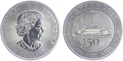 5 Dollar 2017 - 150. výročí, běžná kvalita