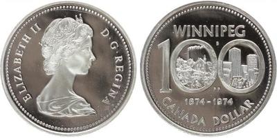 Dollar 1974 - 100. výročí města Winnipeg, Ag 0,500, 36 mm (23,32 g), PROOF