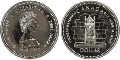Dollar 1977 - 25. výročí na trůnu  1652 - 1977, Ag 0,500, 36 mm (23,3 g)