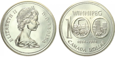 Kanada, Dollar 1974 - 100. výročí města Winnipeg