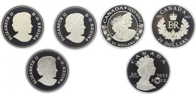 AR Sada 3 ks 20 Dollarů 2012 - Diamantové jubileum vlády 1952 - 2012, krásná dřevěná