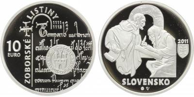 10 Euro 2010 - Zoborské listiny - 900. výročí vzniku, etue, certifikát, PROOF