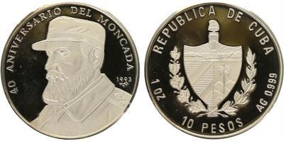 10 Pesos 1993 - 40. výročí útoku na kasárna Moncada, PROOF