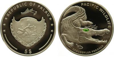 Palau, 5 Dollar 2007 - Krokodýl, PROOF