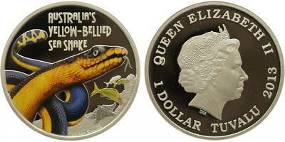 Tuvalu, Dollar 2013 - Australská žlutá užovka, PROOF