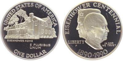 Dollar 1990  - 100. výročí narození Dwighta Eisenhowera, PROOF