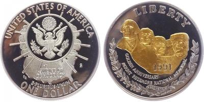 Dollar 1991 - 50. výročí sousoší Mount mushmore, PROOF