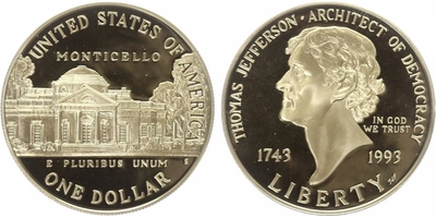 1 Dollar 1993 - Thomas Jefferson, PROOF