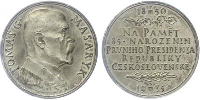 Masaryk, AR Medaile 1935 - 85. výročí narození T. G. Masaryka, 32 mm, matná