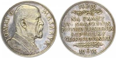 Masaryk, AR medaile 1935 - 85. výročí narození T. G. Masaryka, 42 mm, lesklá