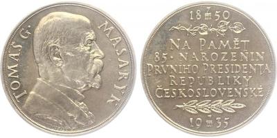 Masaryk, AR medaile 1935 - 85. výročí narození T. G. Masaryka, 42 mm, lesklá, původní etue