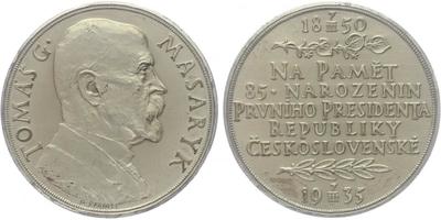 Masaryk, AR medaile 1935 - 85. vyročí narození T. G. Masaryka, 50 mm, matná