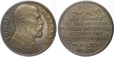AR Medaile 1935 - 85. výročí narození T. G. Masaryka, Ag 0,987, 60 mm (78,35 g), lesk