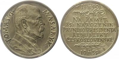 AR Medaile 1935 - 85. výročí narození T. G. Masaryka, Ag 0,987, 60 mm (79,80 g), matn