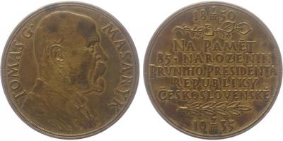 AE Medaile 1935 - 85. vyročí narození T. G. Masaryka, Br 50 mm