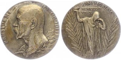 AR medaile 1937 - K úmrtí T. G. Masaryka, orginální etue, Ag 0,987, 50 mm, (54,59 g)