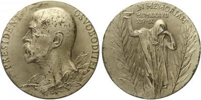 Masaryk, medaile 1937 - K úmrtí T. G. Masaryka, Ag 0,987, 50 mm, originální etue