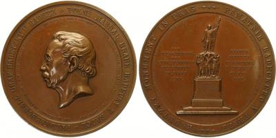 AE Medaile 1859 - Polní maršál hrabě Radecký z Radče / Památník Radeckého v Praze