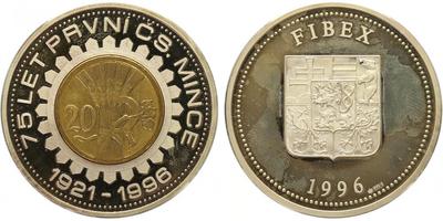 AR Medaile 1996 - 75 let první čs. mince, PROOF