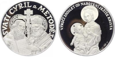 Medaile b.l. (2000) - 2000 let od narození Ježíše Krista - Svatí Cyril a Metoděj, Ag