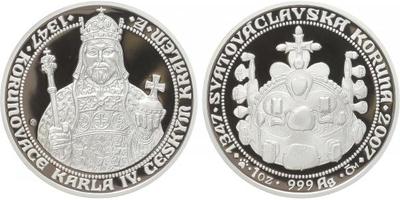 AR Medaile 2007 - 660 let od korunovace Karla IV. českým králem, PROOF