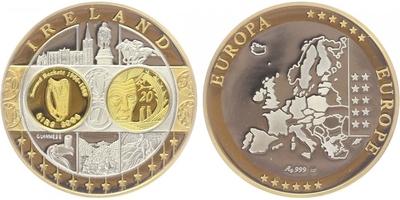 AR Medaile b.l. - Mapa sjednocené Evropy - Irsko, PROOF