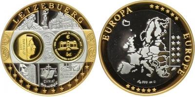 AR Medaile b.l. - Mapa sjednocené Evropy - Lucembursko, PROOF