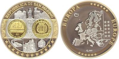 AR Medaile b.l. - Mapa sjednocené Evropy - San Marino, Ag 0,999, PROOF