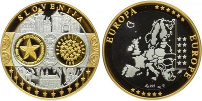 AR Medaile b.l. - Mapa sjednocené Evropy - Slovinsko, Ag 0,999, PROOF