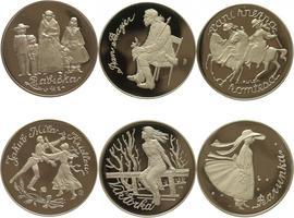 AR Medaile b.l. - Soubor 6 kusů medailí Božena němcová - Babička, PROOF