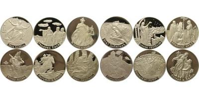 Medaile b.l. - Sada 12 kusů medailí - Staré pověsti české ze souboru - Poklady českéh