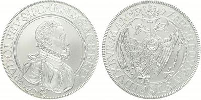 AR Medaile 1997 - replika Jáchymovského tolaru Rudolfa II., Ag 0,999, 40 mm (29 g), k
