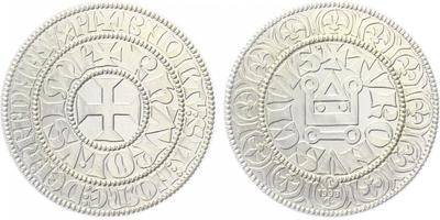 AR Medaile 1998 - Replika Tourského tlustého grošu, etue, Ag 0,999, 28 mm (13 g)