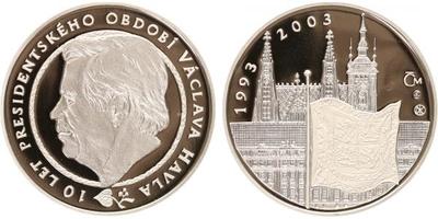 AR Medaile 2003 - 10. výročí vzniku ČR a 10 let prezidentského období Václava Havla, PROOF
