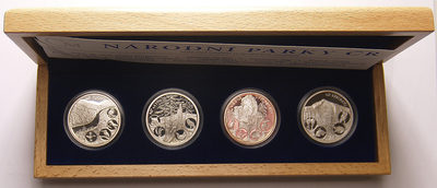 AR Medaile 2007 - Sada 4 kusů medailí se společným reversem - Národní parky ČR, PROOF