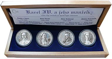 AR Medaile 2008 - Sada 4 kusů medailí  - Karel IV. a jeho manželky