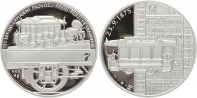 AR Medaile b.l. - 135 let zahájení provozu první pražské tramvaje - tzv. koňka, PROOF