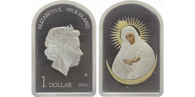1 Niue Dollar 2014 - Madona Ostrobramská, PROOF
