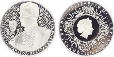 Novozélandský dollar 2016 - Karel I., PROOF