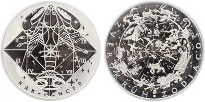 AR Medaile b.l. - Znamení zvěrokruhu, Rak - Cancer, PROOF