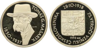 AR Medaile 1993 - Masaryk, PROOF