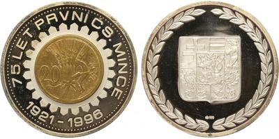 AR Medaile 1996 - 75 let první české mince, PROOF