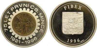 AR Medaile 1996 - 75 let první české mince - FIBEX, PROOF