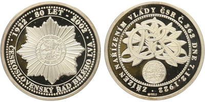 AR Medaile 2002 - Řád bílého lva, PROOF
