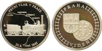AR Medaile b.l. - První vlak v Praze, PROOF