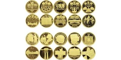 Deset století architektury, kompletní sada 10 kusů 2000 Kč 2001 - 2005, PROOF